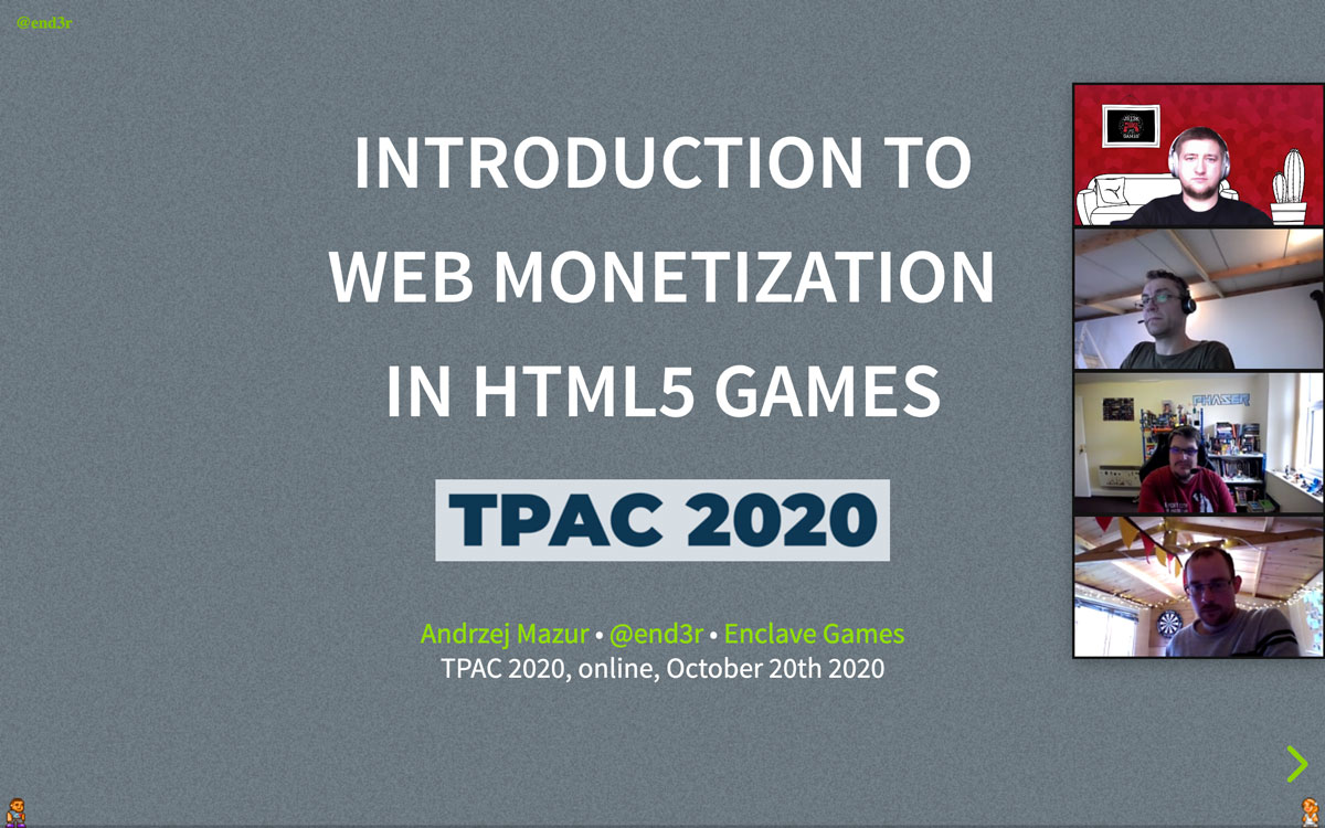 Enclave Games - Monthly October 2020 - TPAC 2020 Web Monetization
